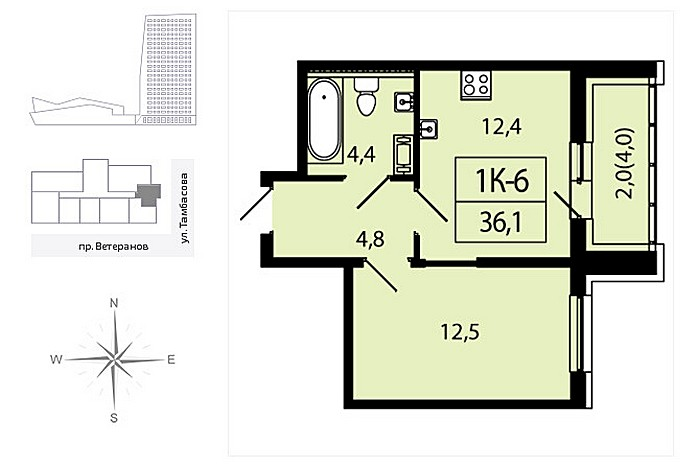 1-к квартира в строящемся доме ЖК Аист Квартира от застройщика